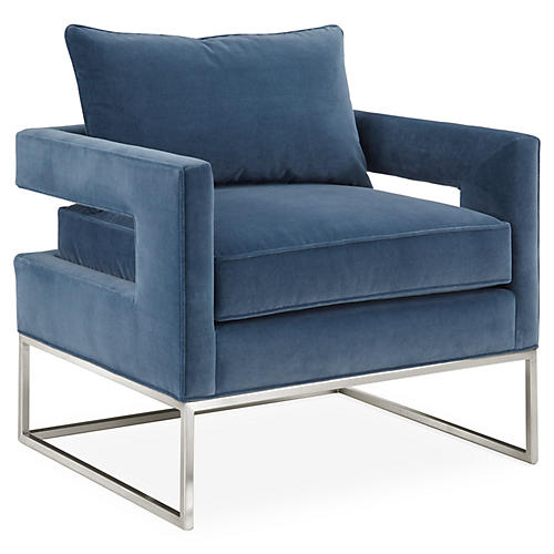 Bevin Chair, Harbor Blue/Chrome