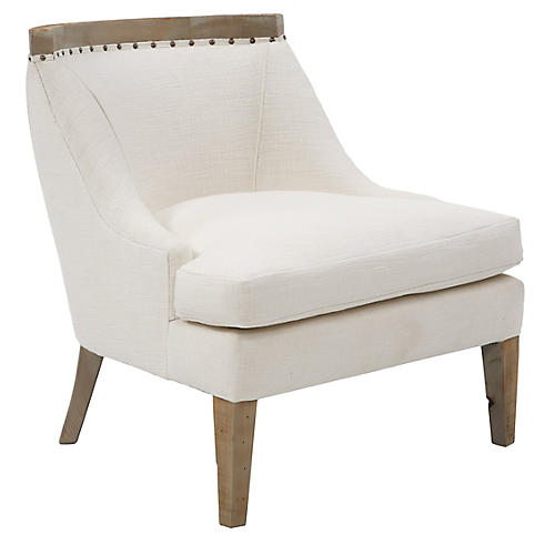 Bryce Accent Chair, White Linen