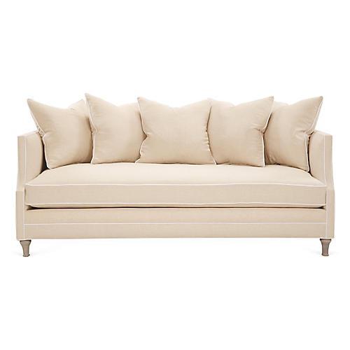 Dumont Sofa, Beige/White Linen