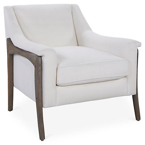 Risa Accent Chair, Ivory Linen