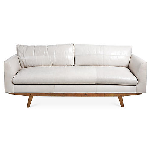 Newell Sofa, Oyster Gray Leather