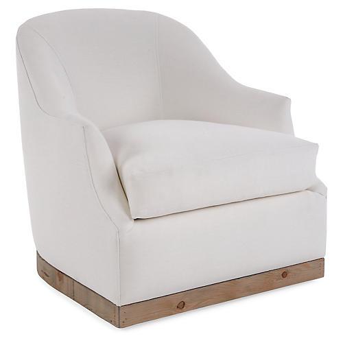 Brooke Swivel Chair, Ivory Linen