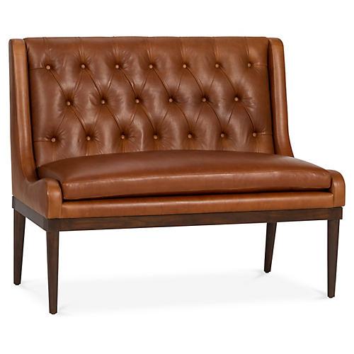 Hanson Banquette, Caramel Leather
