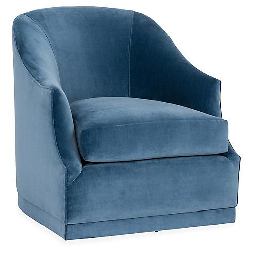 Brooke Swivel Chair, Harbor Blue Velvet