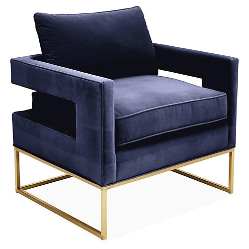 Bevin Accent Chair, Navy Velvet