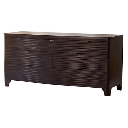 """Theodore 67"""" Carved Dresser, Brown"""