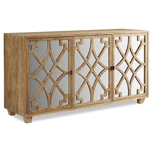"Westport 66"" Mirrored Sideboard, Natural"