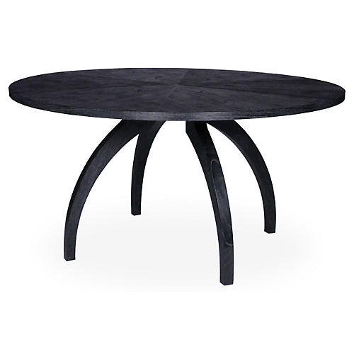 "Alexander 58"" Round Dining Table, Onyx"
