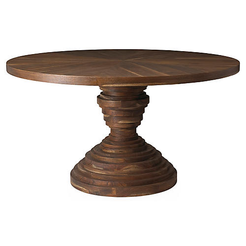 "Elizabeth 54"" Round Dining Table, Sepia"