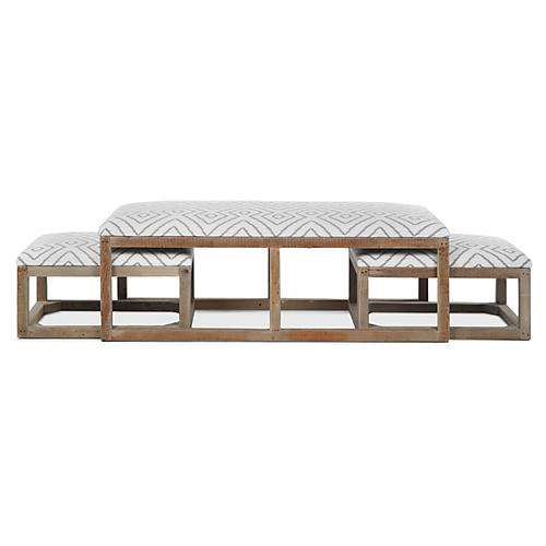 Cocktail Ottoman Trio, White/Gray Linen
