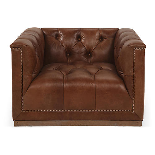 Jackson Swivel Club Chair, Caramel Leather