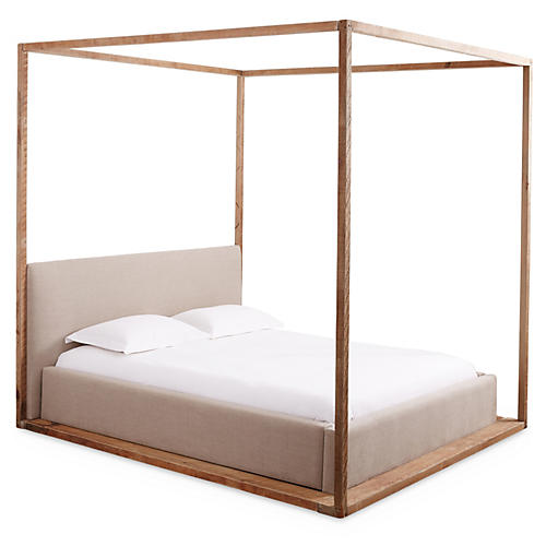 Bryan Canopy Bed, Natural Linen