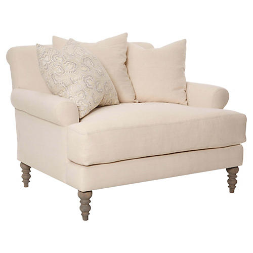 Elizabeth Chair-and-a-Half, Oyster Linen