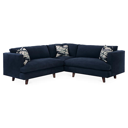 "Keene 96"" Sectional, Navy Blue"
