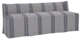 "Martin 76"" Slipcovered Bench, Navy"