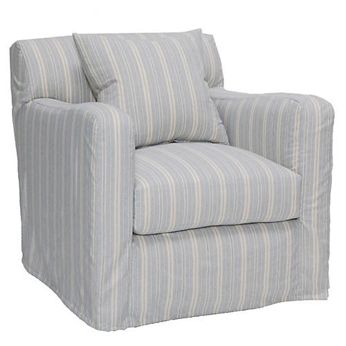 Presley Swivel Chair, Blue/White Stripe