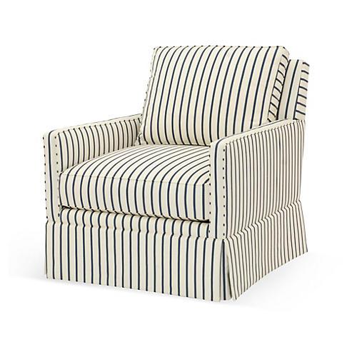 Auburn Swivel Chair, Cream/Blue Stripe