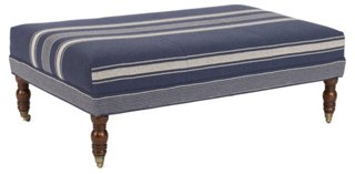 Hillcrest Cocktail Ottoman, Blue Stripe