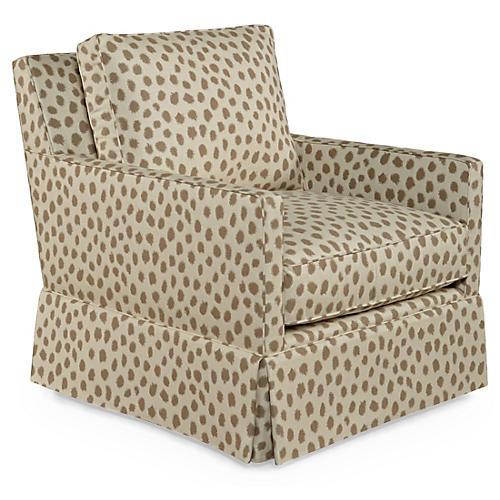 Auburn Swivel Glider Chair, Café Polka Sunbrella