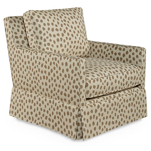 Auburn Swivel Club Chair, Café Polka Sunbrella