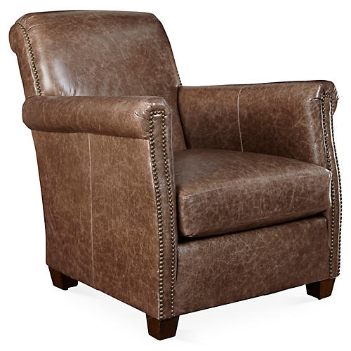 Liam Club Chair, Flint Leather