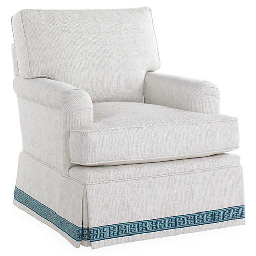 Winston Skirted Swivel Chair, Ivory/Blue