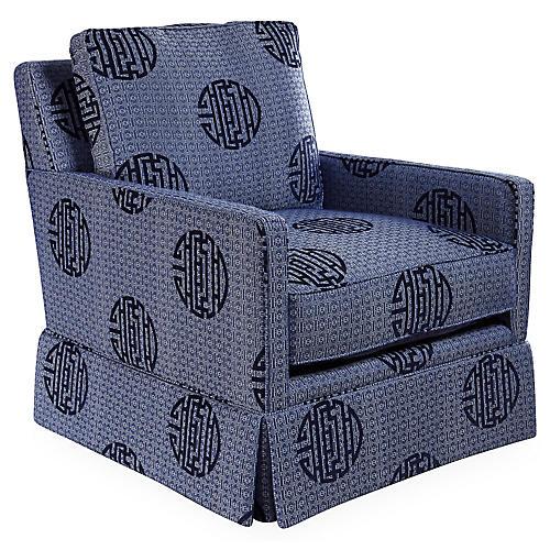 Auburn Club Chair, Indigo Medallion