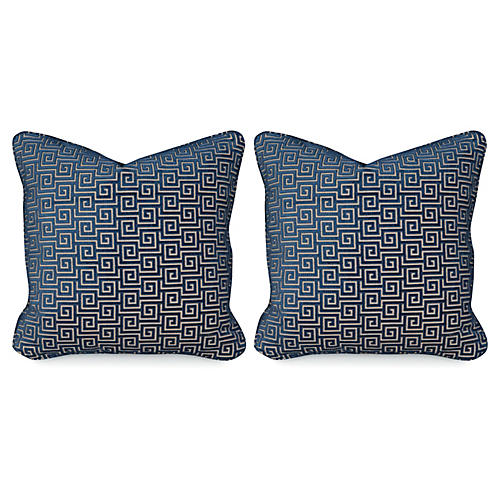 S/2 Miander Velvet 20x20 Pillows, Lapis