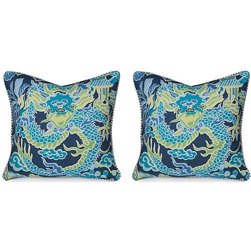 S/2 Dragon 19.5x19.5 Pillows, Navy