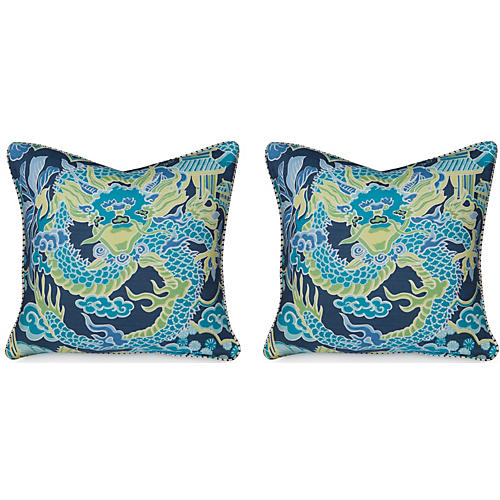 S/2 Dragon 19.5x19.5 Pillows, Navy