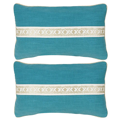S/2 Fiene Pillow 12x20 Pillows, Turq