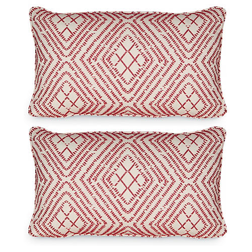 S/2 Bengal 12x20 Pillows, Vermilion