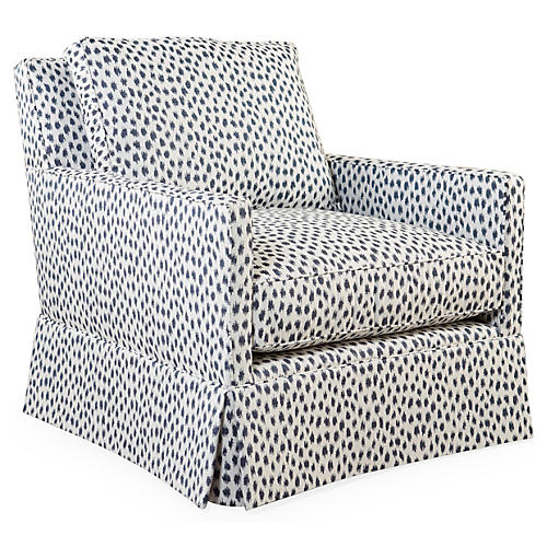 Auburn Swivel Club Chair, Indigo Spot Sunbrella