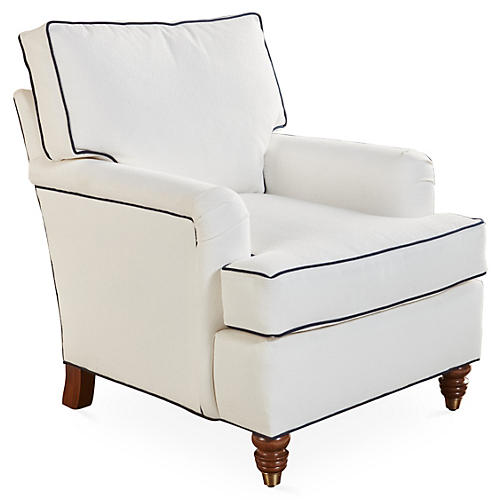 Kate Welt Club Chair, White/Navy