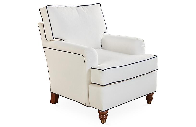 Kate Club Chair, White/Navy Crypton