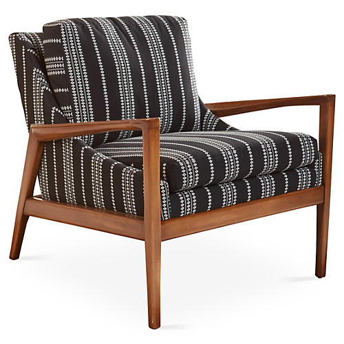 Ebonwood Accent Chair, Black Stripe
