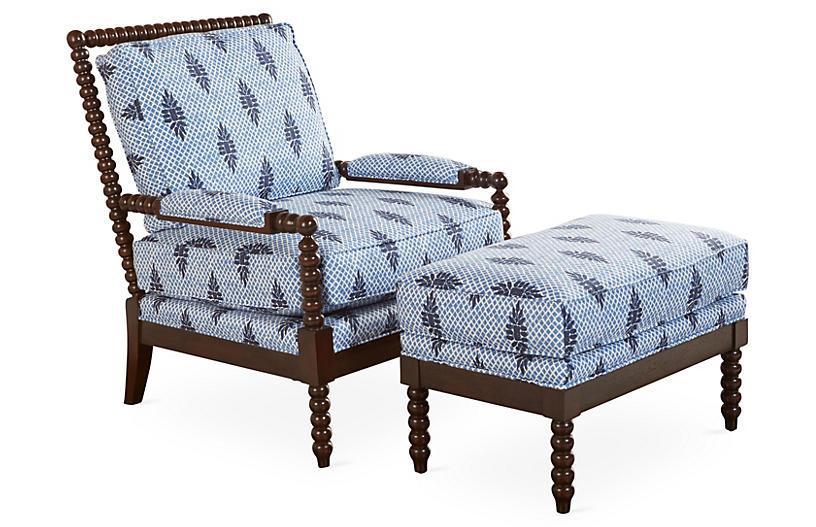 Bankwood Spindle Chair & Ottoman, Blue