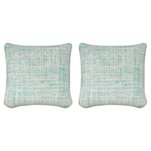 S/2 C. Spring 19.5x19.5 Pillows, Aqua