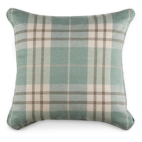 Percival Plaid 19.5x19.5 Pillow, Spa