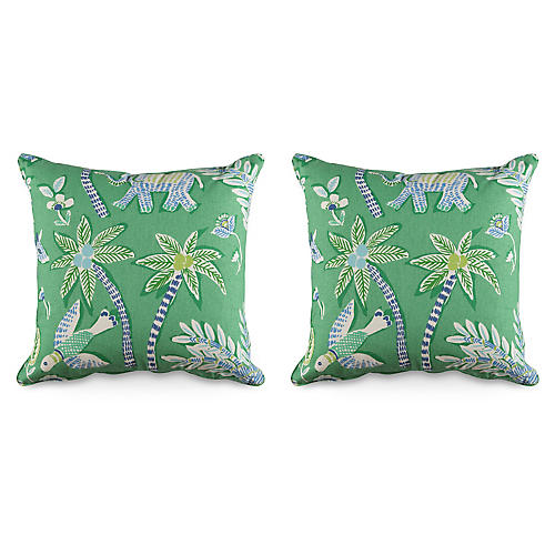 S/2 Goa 19.5x19.5 Pillows, Green/Multi