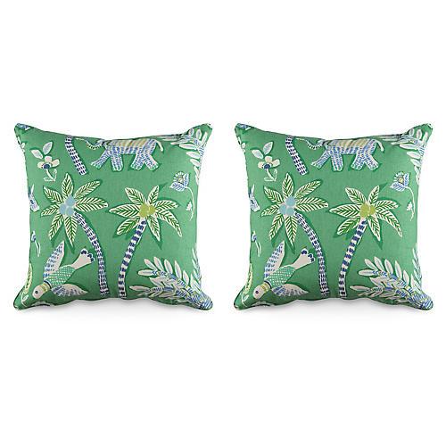 S/2 Goa 19.5x19.5 Pillows, Green/Multi