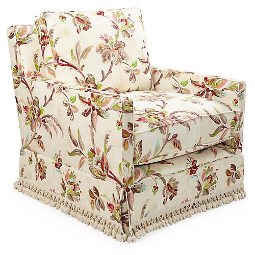 Auburn Swivel Chair, Floral