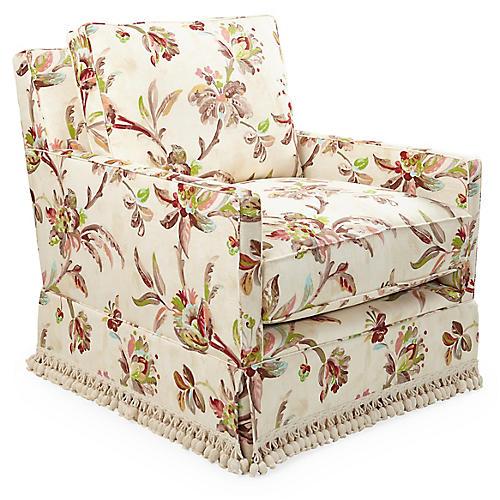 Auburn Swivel Chair, Floral