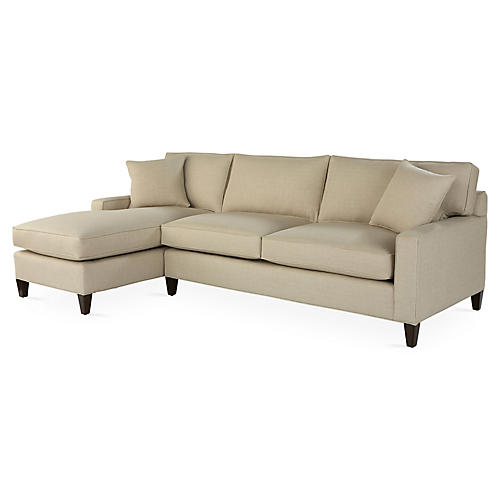 Liza Left-Facing Sectional, Sand Crypton