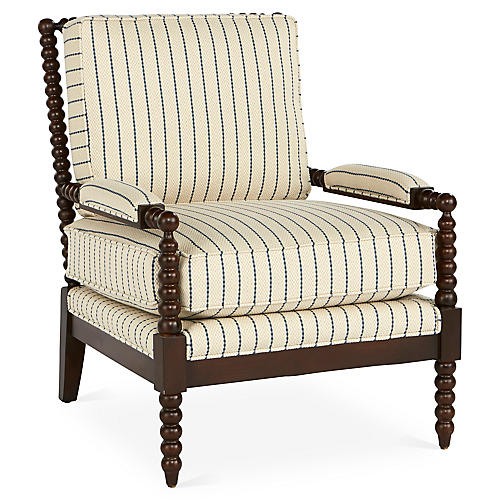 Bankwood Accent Chair, Blue Stripe