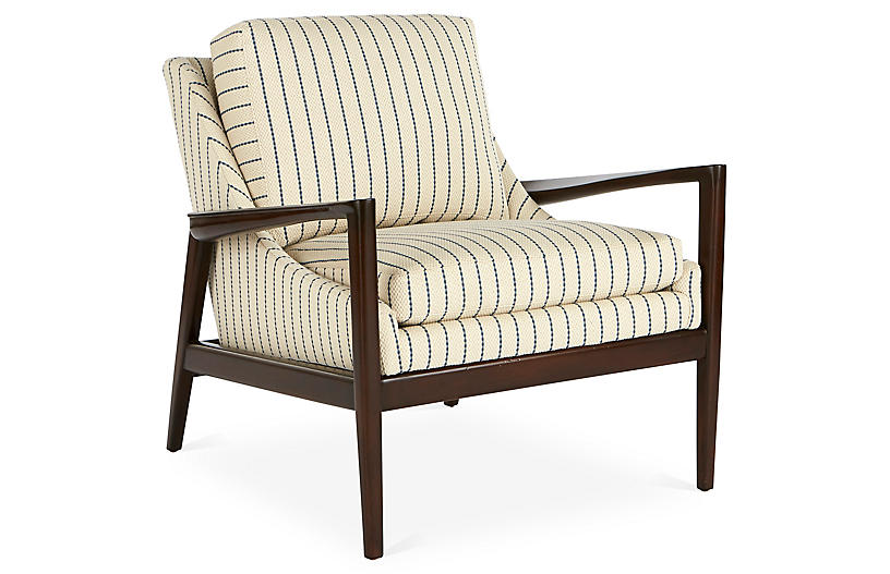 Ebonwood Accent Chair, Blue Stripe