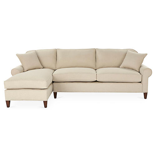 Abby Left-Facing Sleeper Sectional, Natural