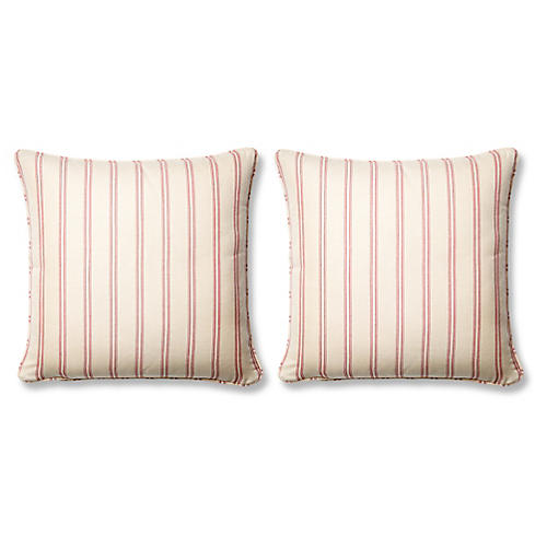 S/2 Espadrille 20x20 Pillows, Raspberry Sunbrella