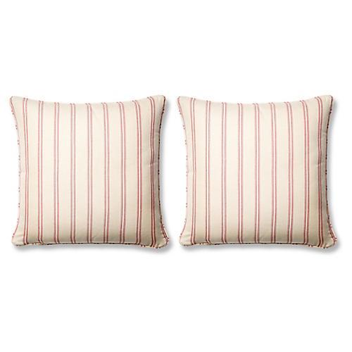S/2 Espadrille 20x20 Pillows, Raspberry Sunbrella