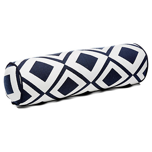 Savvy 7x21 Bolster Pillow, Indigo/White Sunbrella